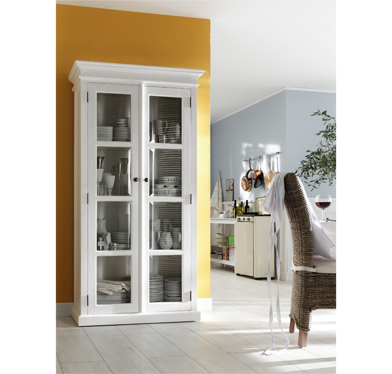 Biblioth que bois blanc collection leirfjord 2 portes vitr es biblioth que biblioth que - Meuble bibliotheque vitree ...