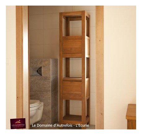 Colonne salle de bain teck massif collection jelita - Colonne de salle de bain bois ...