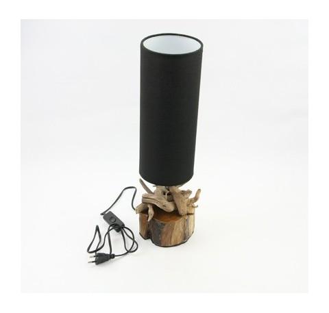 Lampe en bois et abajt-jout noir