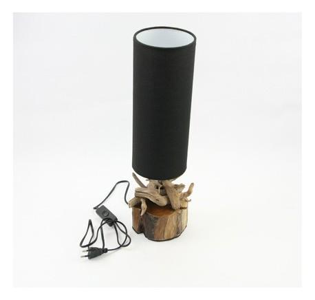 Lampe PEDAN en bois et abat-jour noir  - Luminaire - Lecomptoirdesauthentics