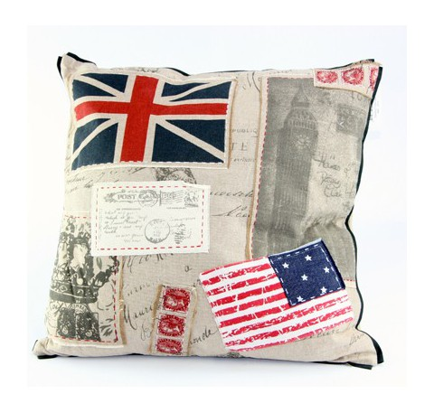 Coussin Angleterre Amérique en tissus