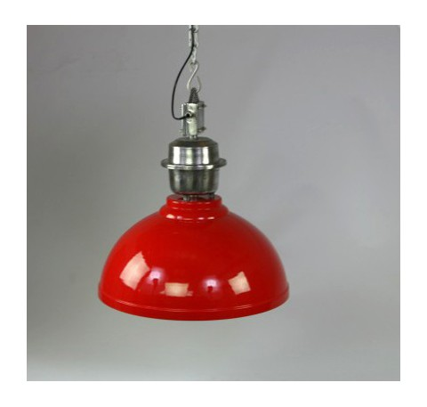 Lampe Lustre Industriel métal rouge Grand