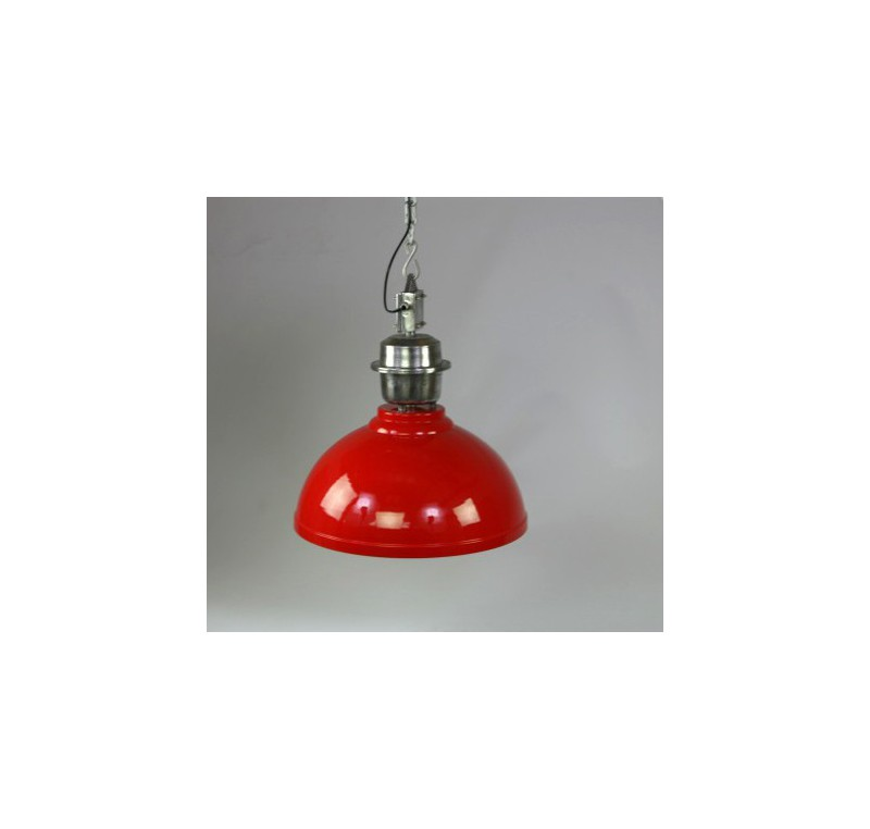 lampe lustre industriel m tal rouge grand luminaire lecomptoirdesauthentics. Black Bedroom Furniture Sets. Home Design Ideas