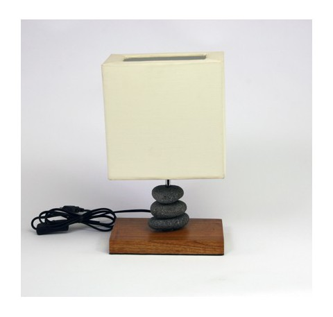 Lampe teck et pierre