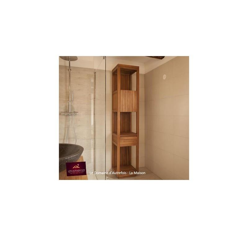 Colonne salle de bain teck kinara mobilier de salle de bain meubles bois - Meuble salle de bain promo destockage ...