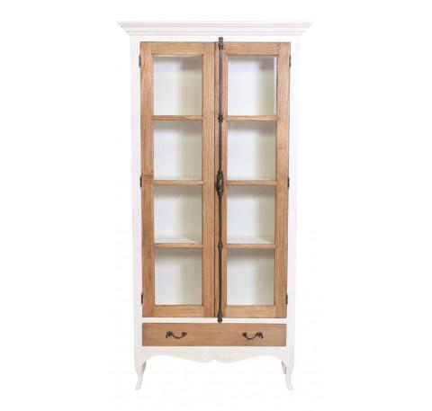 Bibliothèque PHILEMON en bois blanc 2 portes vitrées et 1 tiroir