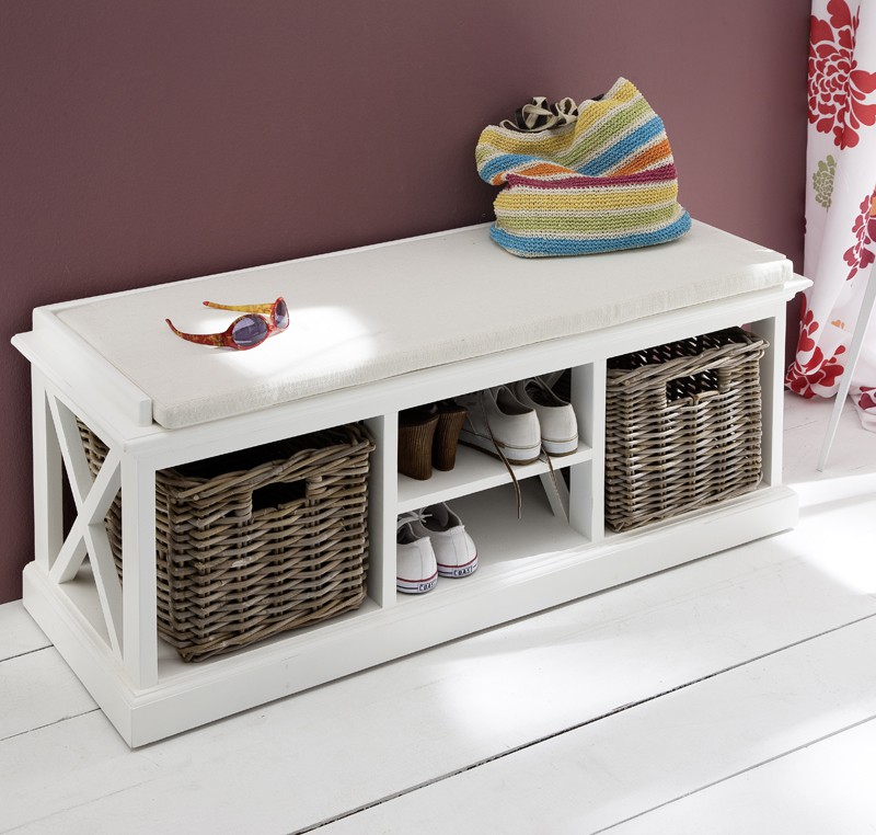 Banc d 39 entr e ou banc de lit bois blanc massif collection for Meuble d entree banc