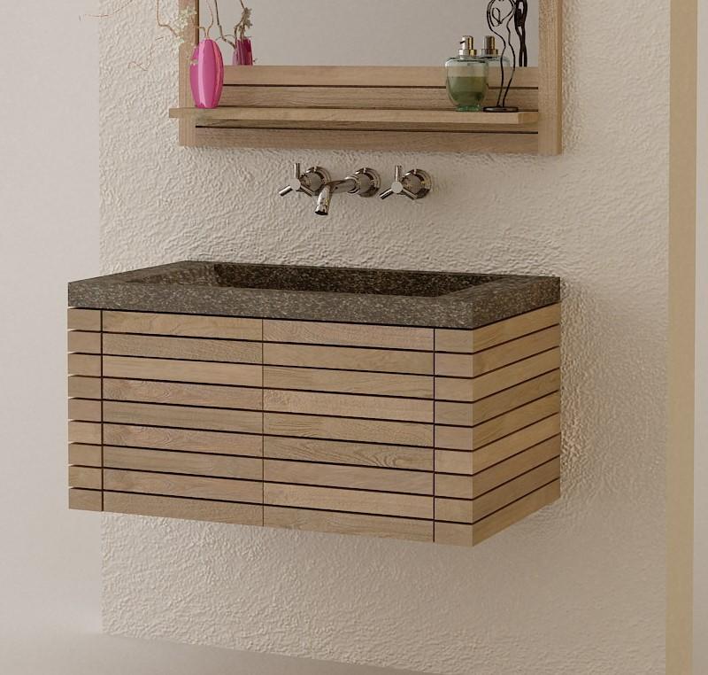 Meuble salle de bain teck massif collection latou for Mobilier salle de bain teck