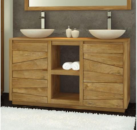 Meuble salle de bain double vasque en teck Groovy