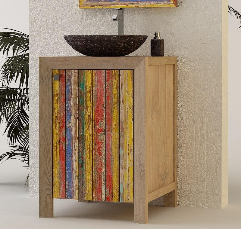 Meuble salle de bain teck massif collection agam - Meuble de salle de bain avec meuble de cuisine ...