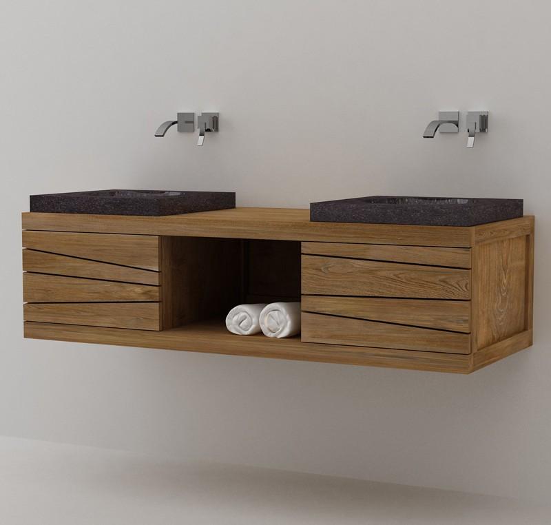 Meuble salle de bain double vasque en teck sentani - Meuble salle de bain ancien en bois ...