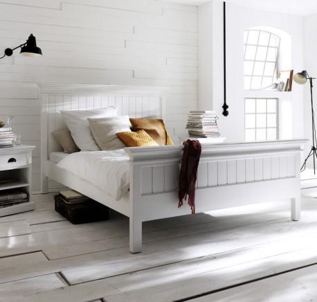 Lit Bois Blanc Collection LEIRFJORD  160 x 200  - Lit - Chambre à coucher - Lecomptoirdesauthentics