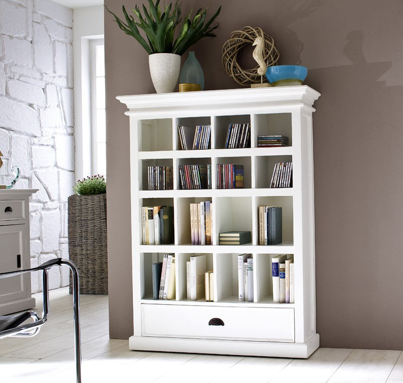 Biblioth que bois blanc collection leirfjord biblioth que tag re meuble - Meuble bibliotheque blanc laque ...