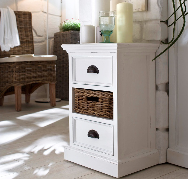 Chevet bois blanc collection leirfjord lit chevet meubles bois lecompt - Table de chevet bois blanc ...