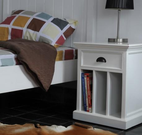 Chevet Bois Blanc Collection LEIRFJORD 3 Séparations 1 Tiroir - Chevet - Chambre à coucher - Lecomptoirdesauthentics