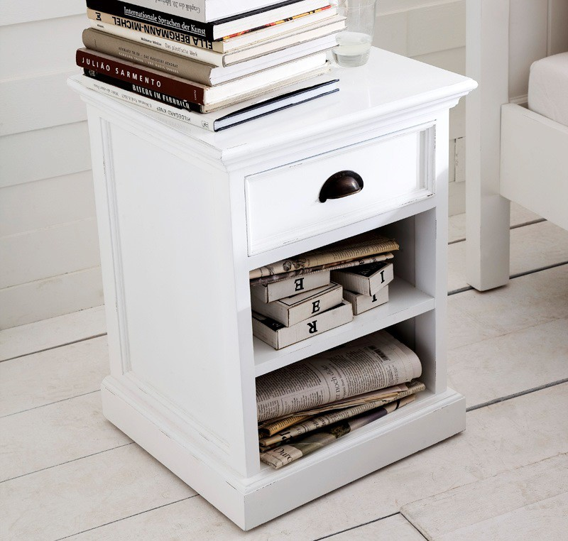 chevet bois blanc collection leirfjord 2 etag res 1 tiroir. Black Bedroom Furniture Sets. Home Design Ideas