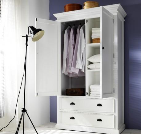 Armoire Bois Massif Blanc Collection LEIRFJORD - Armoire - Chambre à coucher - Lecomptoirdesauthentics