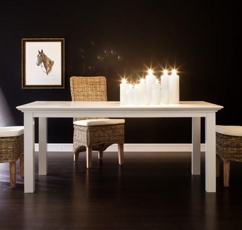 Table à manger bois blanc Leirfjord