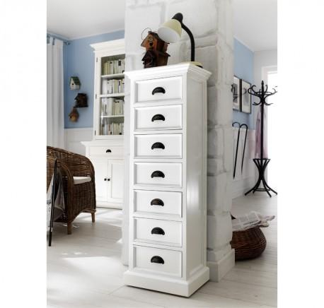 Semainier Colonne Bois Blanc Collection LEIRFJORD - Commode - Chambre à coucher - Lecomptoirdesauthentics