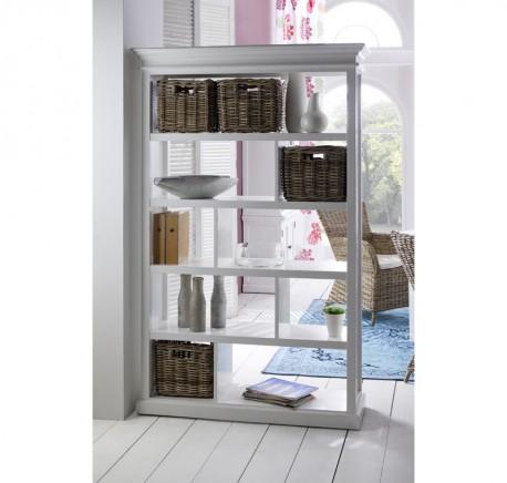 Armoire Etagères Bois Blanc Collection LEIRFJORD - Bibliothèque, étagère - Meubles bois - Lecomptoirdesauthentics