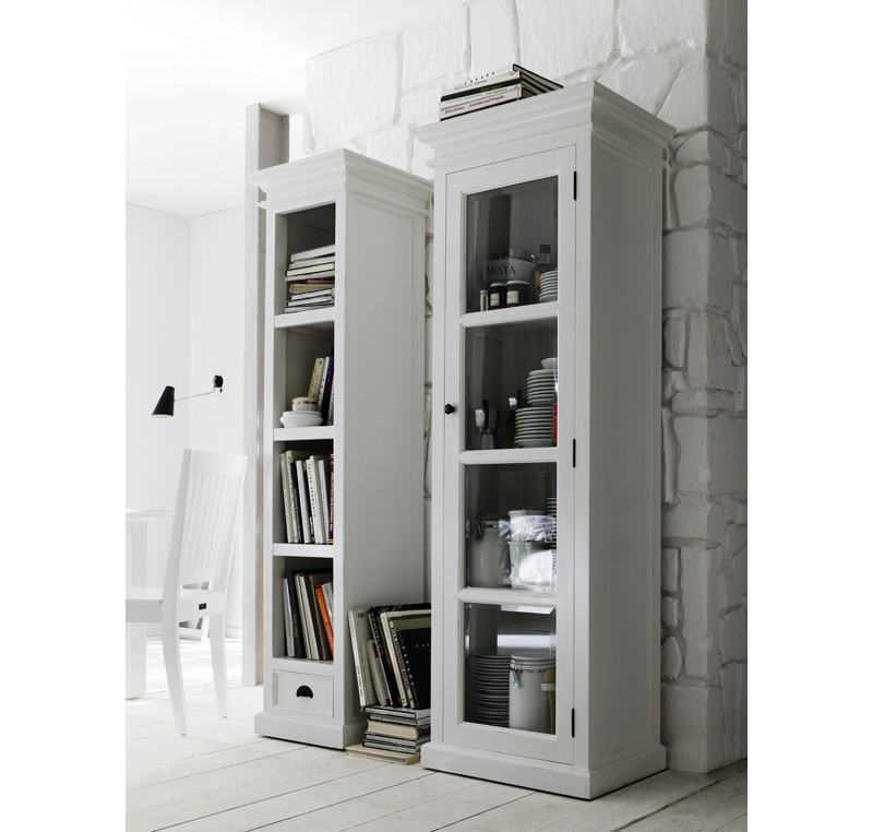 vitrine bibliotheque bois blanc collection leirfjord 1 porte vitr e biblioth que. Black Bedroom Furniture Sets. Home Design Ideas