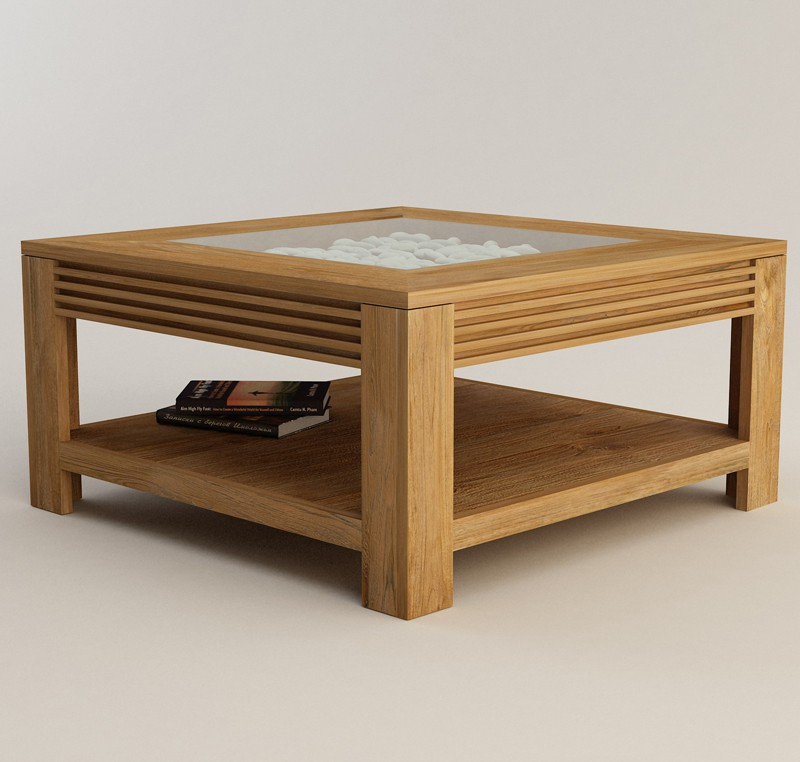 Table basse teck massif collection jelita table basse for Table pour tv