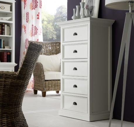 Commode Bois blanc  5 Tiroirs Collection LEIRFJORD - Commode - Chambre à coucher - Lecomptoirdesauthentics