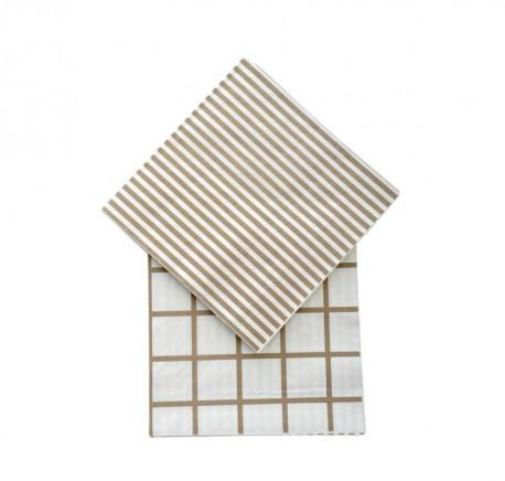 Serviette Papier lignes beige - Art de la table - Lecomptoirdesauthentics