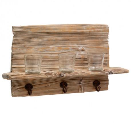 Patère bois et 3 photophores - Photophore - Lecomptoirdesauthentics