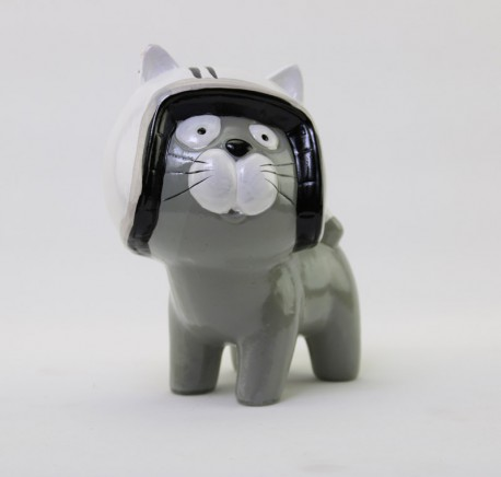 CHAT Gris Casque Blanc CRAZY  HT 16cm - Figurines, statuettes - Lecomptoirdesauthentics
