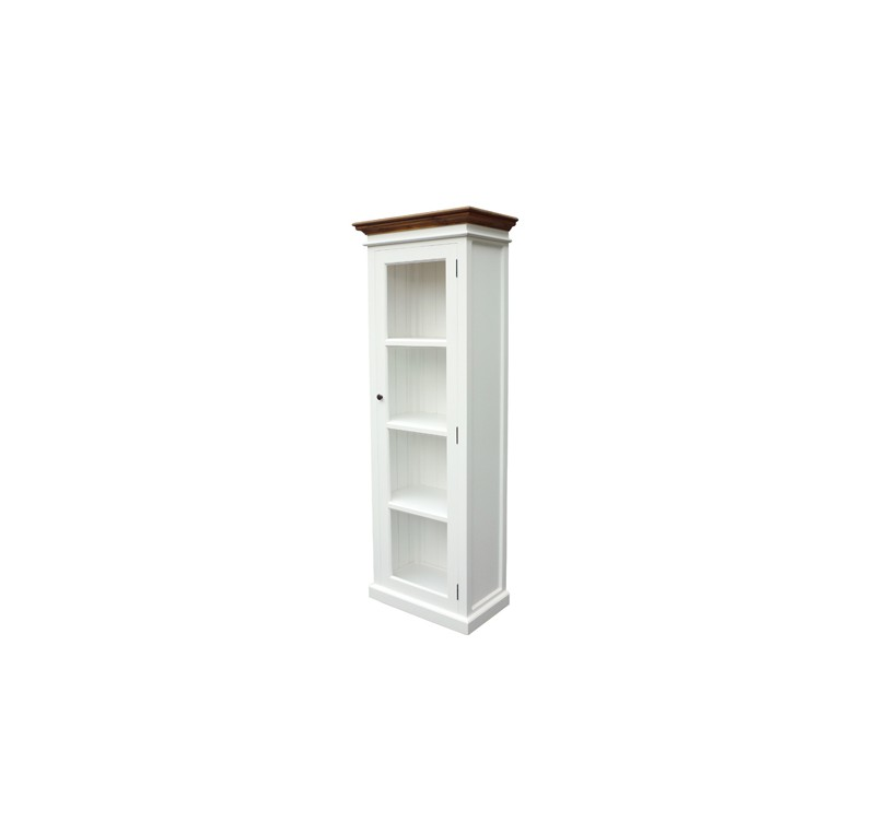vitrine bibliotheque bois blanc dessus teck collection leirfjord lecomptoirdesauthentics. Black Bedroom Furniture Sets. Home Design Ideas