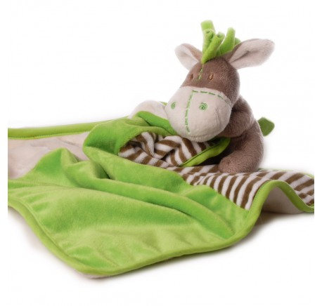 Doudou Bébé Ane Vert/Marron - Peluche, doudou - Lecomptoirdesauthentics