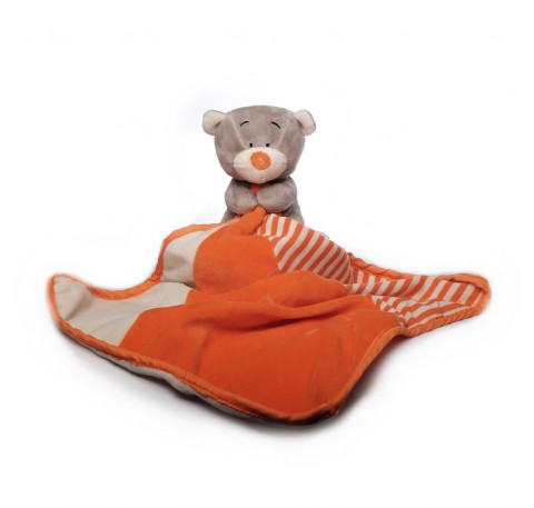 DOUDOU Ours Gris et Orange