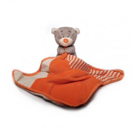 Doudou Bébé Ours Gris et Orange - Peluche, doudou - Lecomptoirdesauthentics