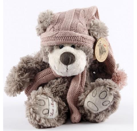 Loris- Ours gris bonnet et echarpe laine rose 24 cm