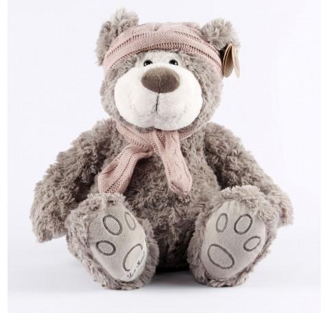 Milo-Ours gris bonnet et echarpe laine rose 35 cm