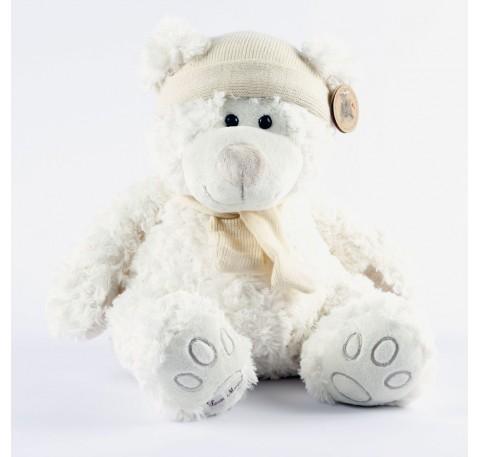 Owen- Ours blanc bonnet et echarpe laine ecrue 35 cm