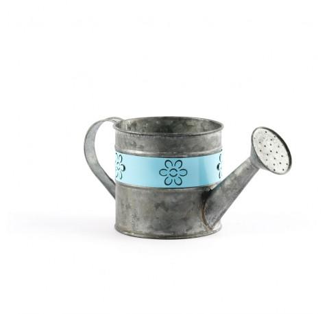 Arrosoir Pot de Fleurs  Vase  Métal Bleu
