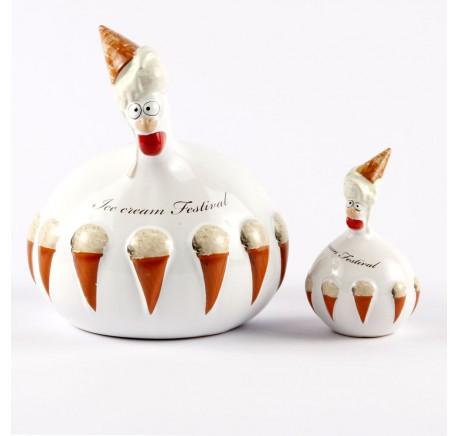 Poule J-Line Ice cream Festival vanille - Figurines, statuettes - Lecomptoirdesauthentics
