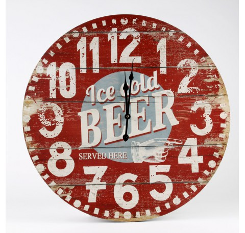 Horloge ronde murale rouge facon bois vieilli Ice cold beer 57 cm bois MDF