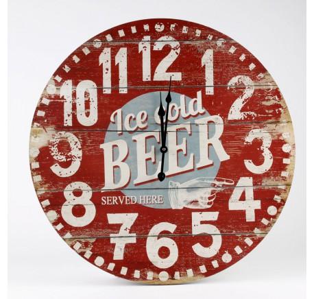 Horloge Ronde Vintage Ice Cold BEER - Horloge - Lecomptoirdesauthentics