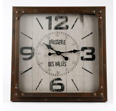 Horloge Murale Vintage BRASSERIE DES HALLES Métal - Déco vintage - Lecomptoirdesauthentics
