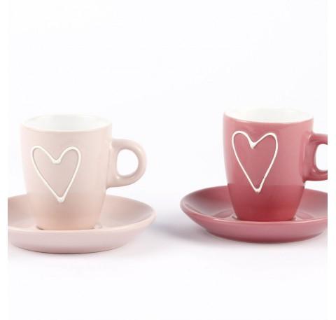 tasse expresso avec sous tasse rose avec c?ur