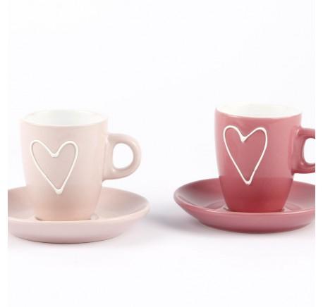 Set 6 Tasses Espresso COEUR Porcelaine avec sous tasse Rose/Fuchsia - Vaisselle - Lecomptoirdesauthentics