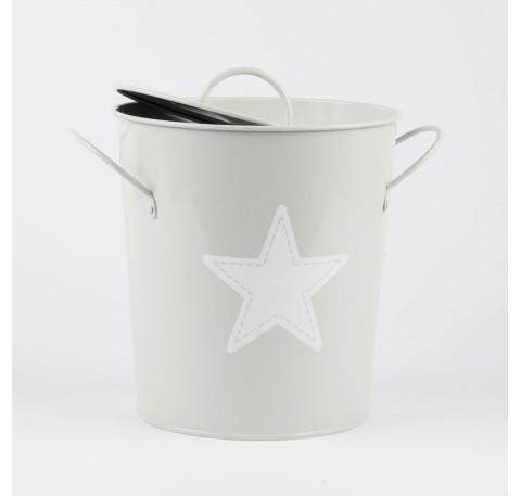 poubelle  16 cm metal/plastique grise
