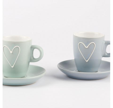 Lot 6 Tasses Espresso Porcelaine avec sous tasse bleu/vert