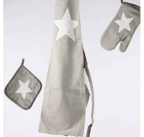 tablier 70x80 cmpolyester gris avec etoile blanche