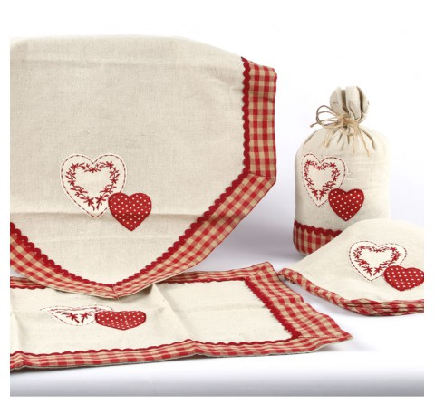 Serviette de Table Coeur Vichy Rouge