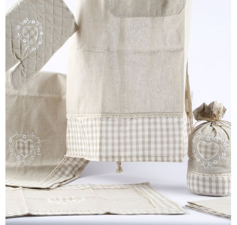 Serviette de Table Coeur BIANKA Lin Naturel
