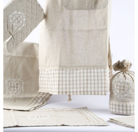 Serviette de Table Coeur BIANKA Lin Naturel  - Linge cuisine - Lecomptoirdesauthentics